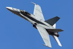 Free Royal Australian Air Force RAAF McDonnell Douglas F/A-18A Hornet Multirole Fighter Aircraft A21-3 From 3 Squadron RAAF Williamto Stock Photo - 189116910
