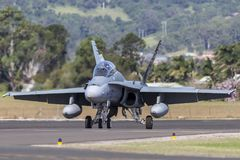 Royal Australian Air Force RAAF McDonnell Douglas F/A-18B Hornet jet aircraft A21-110 at Illawarra Regional Airport, Albion Park. Albion Park, Australia - May 4 stock photo