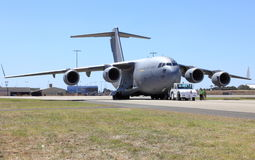 Royal Australian Airforce plane. Being towed on runway at the Avalon airshow in Australia stock photo