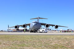 Royal Australian Airforce plane. Displayed on runway at the Avalon airshow in Australia stock photography