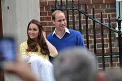 Royal couple newborn  princess Charlotte Stock Photos