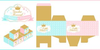 Royal Baby Shower. Gender reveal party. Prince or princess. Blue, pink and gold favor box template. Vector design elements with crown. Die paper. Print and cut Royalty Free Stock Photo