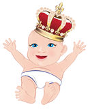 Royal baby. Vector Illustration of Royal baby with golden crown Royalty Free Stock Photo