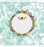 Royal background with golden frame and crown royalty free illustration