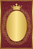 Royal background. Red background with decorative golden frame and crown Royalty Free Stock Photos