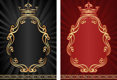 Royal backgrounds. Black and red royal background with golden ornaments Stock Photography