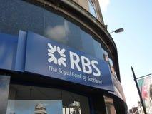 Royal Bank av Skottland - RBS-logo Arkivbild