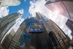 Royal Bank Sign at Headquarters in Toronto. Royal Bank of Canada sign at the entrance of the company tower in Downtown Toronto, the bank is the largest financial stock photos