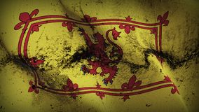 Royal Banner of Scotland grunge dirty flag waving on wind. Royal Banner of Scotland background fullscreen grease flag blowing on wind. Realistic filth fabric Royalty Free Stock Photos