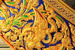 Carve Of Royal Barge In National Museum of Royal Barges, Bangkok, Thailand. Royal Barge is a ceremonial barge that is used by a monarch for processions and stock photo
