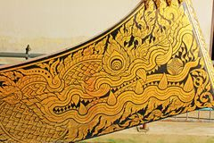 Painting Of Royal Barge In National Museum of Royal Barges, Bangkok, Thailand. Royal Barge is a ceremonial barge that is used by a monarch for processions and royalty free stock image