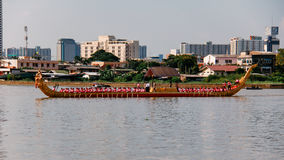 Royal Barge Narai Song Suban HM Rama IX of Thailand in Dress rehearsal for Royal Barge Procession on Chao Phraya Royalty Free Stock Photos