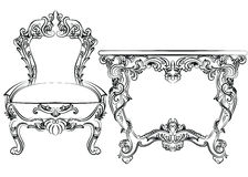 Royal Baroque Vector Classic furniture set chair and table Stock Photos