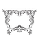 Royal Baroque Vector Classic table furniture with ornaments Royalty Free Stock Images