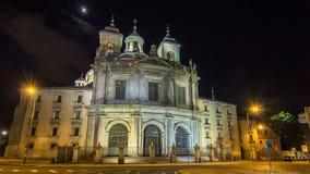 Royal Basilica San Francisco el Grande night timelapse hyperlapse in Madrid, Spain. stock video footage