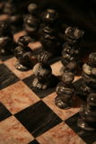 Royal Battle. Marble chess board from Cozumel, Mexico Stock Photo