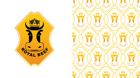 Royal Beef logo. Cow in crown. Excellent quality meat.  Royalty Free Stock Photography
