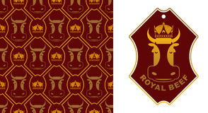 Royal Beef logo. Cow in crown. Excellent quality meat. Logo for Royalty Free Stock Images