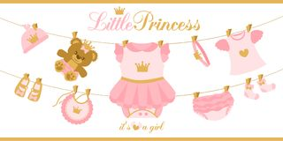 Little princess clothes hanging on line. Illustration for baby shower invitation card. Royal birthday first party. Cute  things isolated on white background Stock Photo