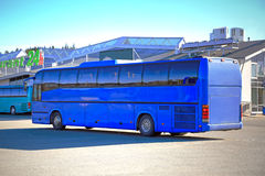 Royal Blue Coach Bus Waits for Passengers Stock Photography