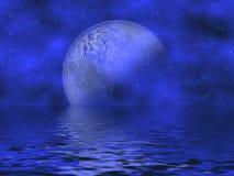 Royal Blue Moon & Water stock image