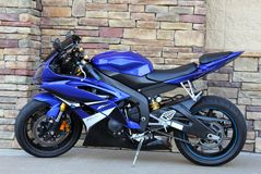 Royal Blue Motorcycle Cobblestone Background Royalty Free Stock Image