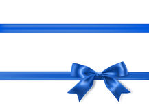 Royal blue silky bow. And ribbon border on white background. vector Royalty Free Stock Photos