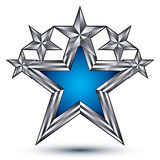 Royal blue star with silver outline, geometric Royalty Free Stock Image