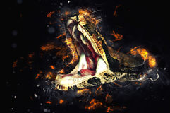 Royal boa. Opens mouth. Fire illustration Royalty Free Stock Image