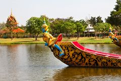 The Royal boats in the park. The Royal boat in the park near Bangkok city, Thailand Royalty Free Stock Images