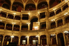The royal box, opera Budapest. Famous old state Opera house in Budapest, Hungary. Designed by Miklos Ybl the construction lasted from 1875 to 1884 and was funded Stock Images
