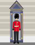 Royal British guardsman holding a rifle. And standing near a guard box Royalty Free Stock Images