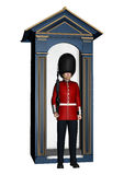 Royal British Guardsman near Guard Box. 3D digital render of a royal British guardsman holding a rifle and standing near a guard box isolated on white background Royalty Free Stock Image
