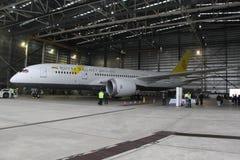 Royal Brunei Airlines Boeing 787 Dreamliner på den Melbourne Tullamarine flygplatsen Royaltyfria Foton