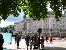 Buckingham Palace with trees stock image