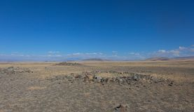 Royal burial mounds. In the valley of the kings in Altai stock photography