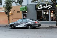 Royal Canadian Mounted Police car seen on a stakeout in Toronto. royalty free stock images