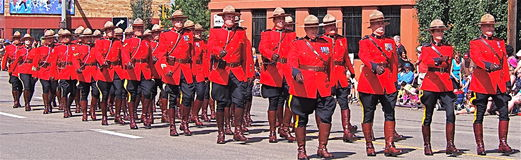 Royal Canadian Mounted Police marching Stock Photography