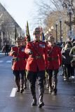 Royal Canadian Mounted Policemen marching at the Remembrance Day Ceremony stock images