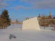 Royal Canadian Navy Monument, Ottawa, Canada. Royal Canadian Navy Monument on Richmond landing point along Ottawa river on a sunny winter day with snow, with stock photography