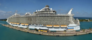 Royal Caribbean Allure of the Seas. Nassau, Bahamas - December 21, 2015: Royal Caribbean megaship Allure of the Sears prepares for departure from Nassau in the Stock Photo
