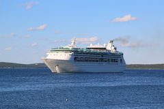 Royal Caribbean Cruise Ship Grandeur of the Seas in Bar Harbor, Maine. BAR HARBOR, MAINE - JULY 3, 2017: Royal Caribbean Cruise Ship Grandeur of the Seas in Bar Stock Image