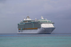 Royal Caribbean Freedom of the Seas Cruise Ship anchors at Port of George Town, Grand Cayman Royalty Free Stock Images