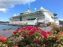 Royal Caribbean - gioiello dei mari - nave da crociera con la buganvillea fotografia stock libera da diritti