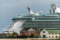 Falmouth, Jamaica - June 03 2015: Royal Caribbean Independence of the Seas cruise ship docked at the Falmouth Cruise Port in Jamai royalty free stock images