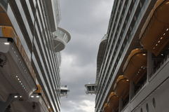 Royal Caribbean's Allure of the Seas & Mariner of the Seas. COZUMEL, MEXICO - NOVEMBER 23: Royal Caribbean's Allure of the Seas & Mariner of the Seas at Cozumel royalty free stock image