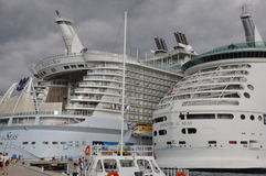 Royal Caribbean's Allure of the Seas & Mariner of the Seas stock photography