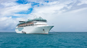 Royal Caribbean`s Majesty of the Seas. COCO CAY, BAHAMAS - OCT 16, 2016: Royal Caribbean`s Majesty of the Seas from the Coco Cutter II boat shutlling tourists to Stock Photos