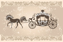 Royal carriage. With  horse on the grunge background Royalty Free Stock Photo
