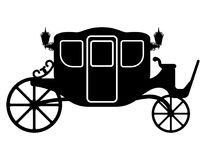 Royal carriage for transportation of people black outline silhou Stock Image